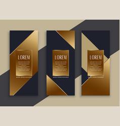 Premium set of dark geometric banners vector