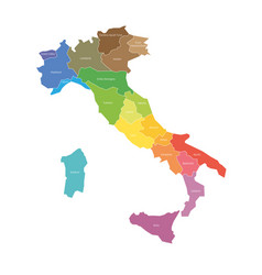 regions italy map regional country vector image