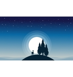 Reindeer with spruce of silhouettes vector