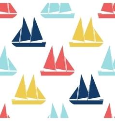 Retro boat seamless pattern vector image