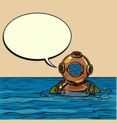 retro deep sea diver in metal helmet vector image