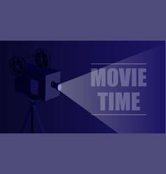 Retro movie projector on a black background vector
