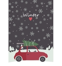 Retro red car with tree on the top vector