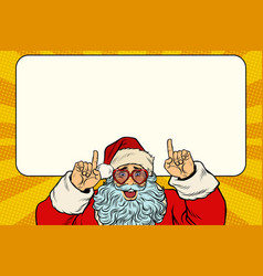 santa claus points to the white background vector image