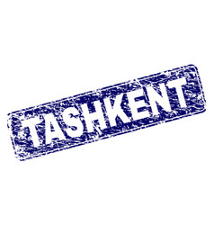 Scratched tashkent framed rounded rectangle stamp vector