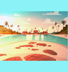 Sea shore beach with villa hotel beautiful sunset vector