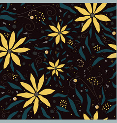 seamless floral pattern with hand drawn flowers vector image