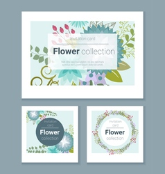 Set of invitation cards with colorful flowers 1 vector image
