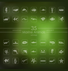 set of marine animals icons vector image