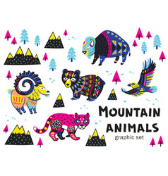 Set of mountain animals vector