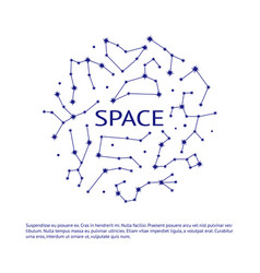 Space banner with zodiac constellation symbols vector