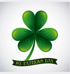 st patricks day big green clover banner design vector image