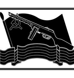 stencil of soviet machine gun and flag vector image