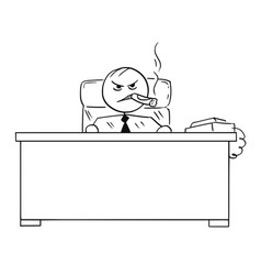 stick man cartoon of angry boss with big cigar vector image