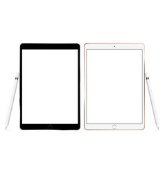 Tablet computers mockups with pencils vector