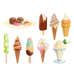 tasty colorful ice cream set collection ice-cream vector image
