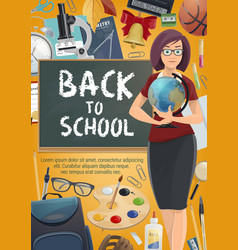 Teacher with student school supplies poster vector