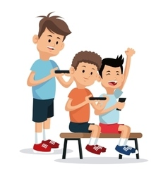 Teenagers playing video game smartphone vector