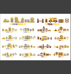 travel symbols set five in line collection of vector image