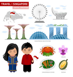 Travel to singapore singaporeans peoples in vector