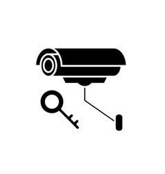 video alarm black icon sign on isolated vector image