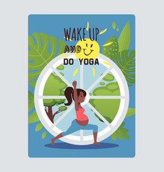 Wake up go yoga pregnant women character sport vector