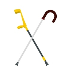 Walking cane and elbow crutche icon flat style vector