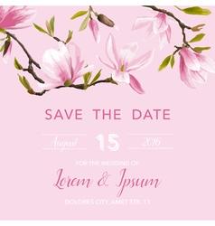 Wedding Invitation Card - with Floral Magnolia vector image