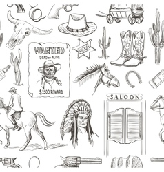 Wild West hand drawn seamless pattern vector