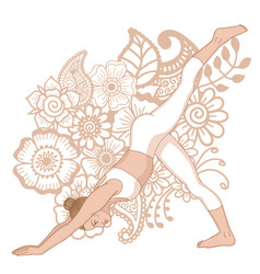 Women silhouette one legged downward facing dog vector