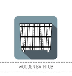 Wooden bathtub flat icon of barrel products vector
