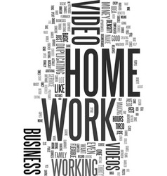 Work at home with video text word cloud concept vector