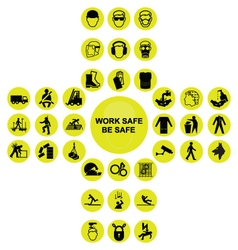 Yellow cruciform health and safety icon collection vector