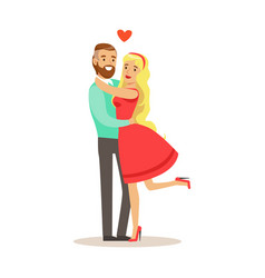 young happy couple hugging each other romantic vector image