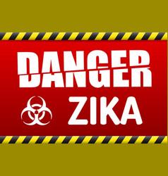 zika virus danger sign with reflect vector image