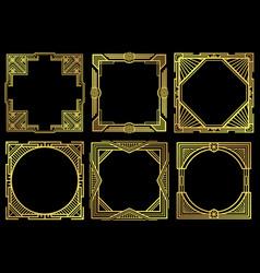 art deco nouveau border frames in 1920s style vector image