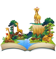 Book of giraffes living by the river vector image vector image
