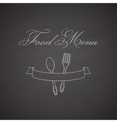 Chalkboard label with fork spoon and ribbon vector
