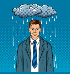 guy with bad mood pop art vector image