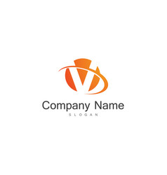 round letter v company logo vector image