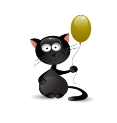 Black cat with balloon vector image