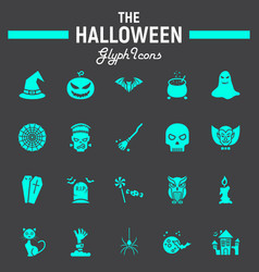 halloween glyph icon set scary symbols collection vector image vector image