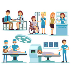 medical patient and doctors in medical activity vector image