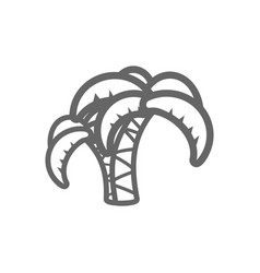 palm tree outline icon summer vacation vector image