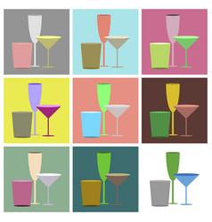 set icons in flat design cocktail glasses vector image