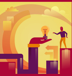 abstract hand holding light bulb business man new vector image vector image