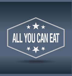 All you can eat hexagonal white label vector