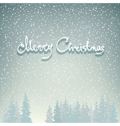 Snowfall in the forest and text vector