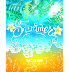 summer vacation palm paradise poster vector image vector image