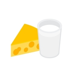 Cheese with milk isometric 3d icon vector image